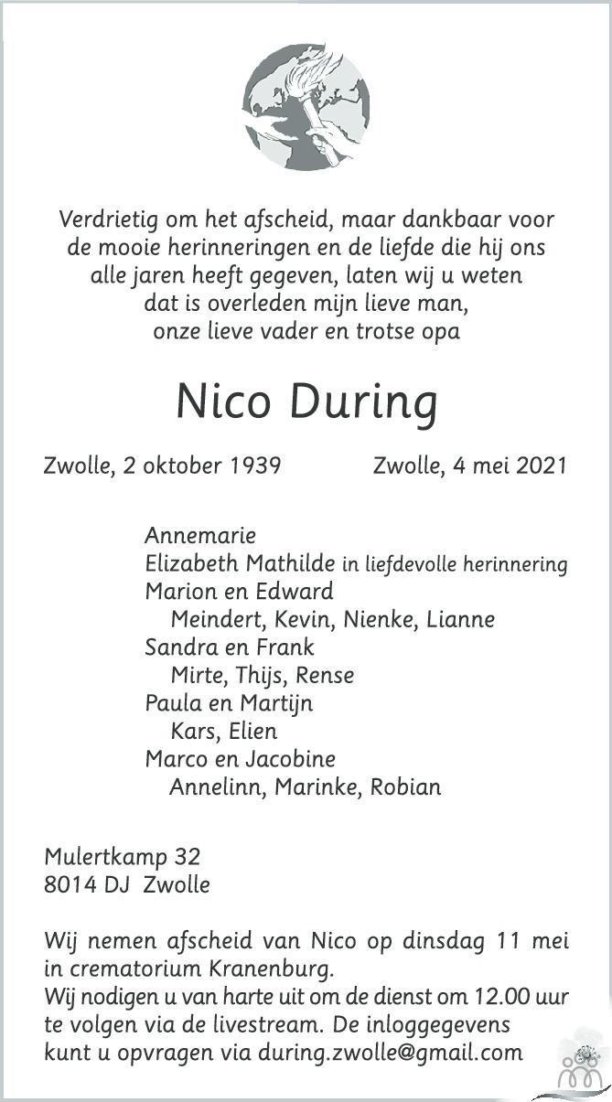 Overlijdensbericht van Nico During in de Stentor