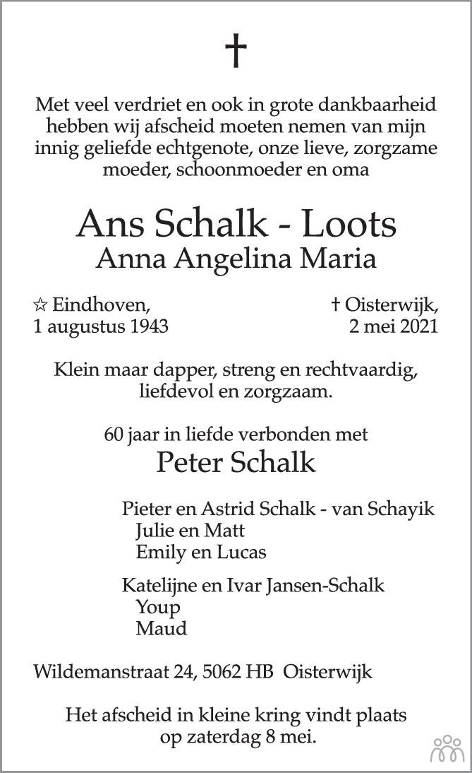 Overlijdensbericht van Ans (Anna Angelina Maria) Schalk-Loots in Brabants Dagblad