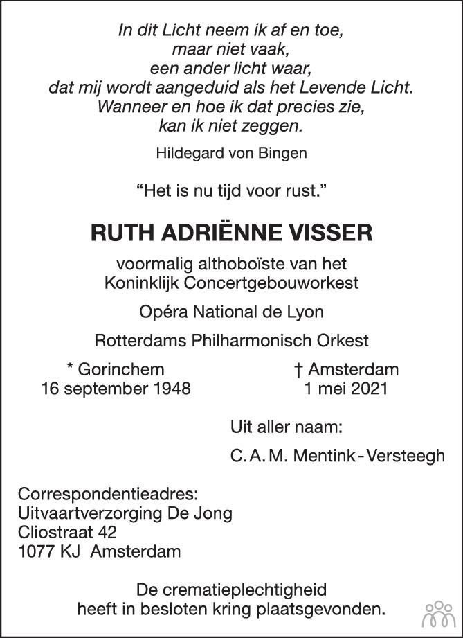 Overlijdensbericht van Ruth Adrienne Visser in Het Parool