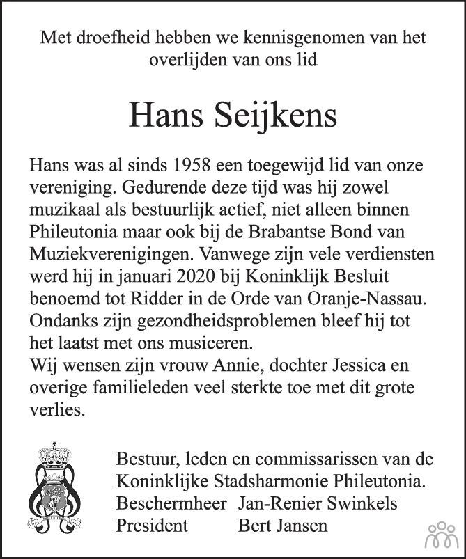 Overlijdensbericht van Hans Seijkens in Eindhovens Dagblad