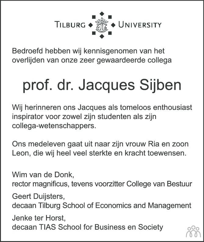 Overlijdensbericht van Jacques Sijben in Brabants Dagblad