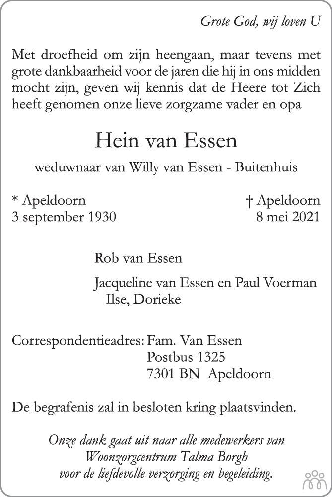Overlijdensbericht van Hein van Essen in de Stentor