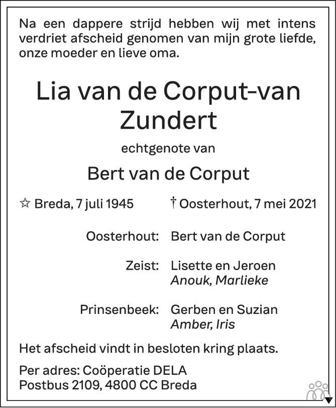 Overlijdensbericht van Lia van de Corput-van Zundert in BN DeStem
