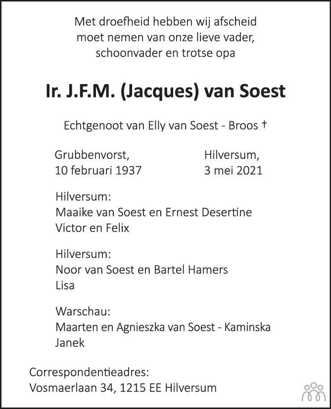 Overlijdensbericht van Ir. J.F.M. (Jacques) van Soest in Wageningen / Bennekom / Renkum Cominatie