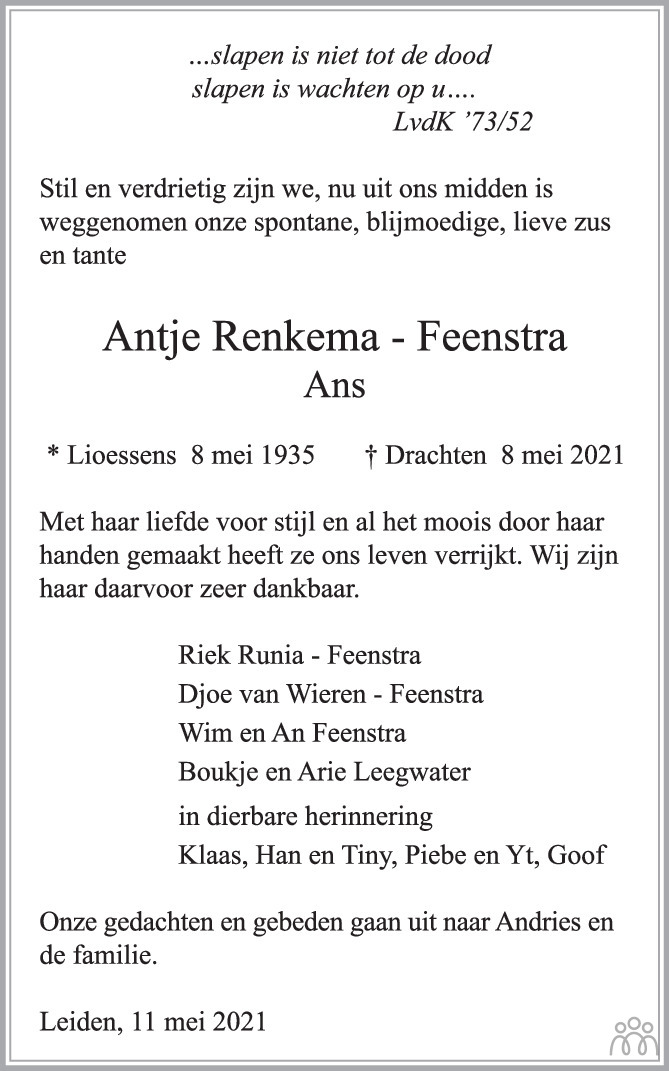 Overlijdensbericht van Antje (Ans) Renkema-Feenstra in Trouw