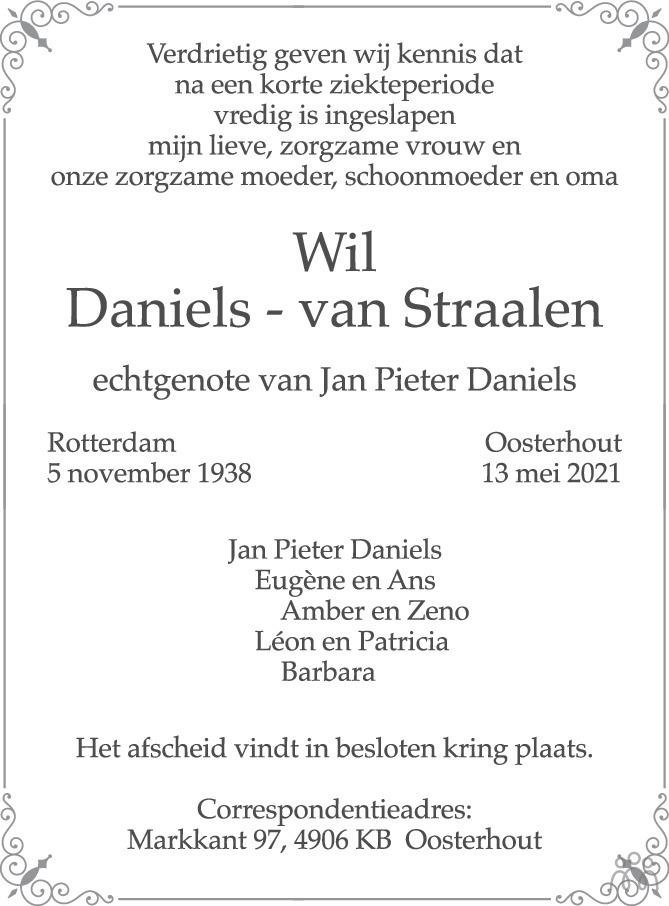 Overlijdensbericht van Wil Daniels-van Straalen in BN DeStem
