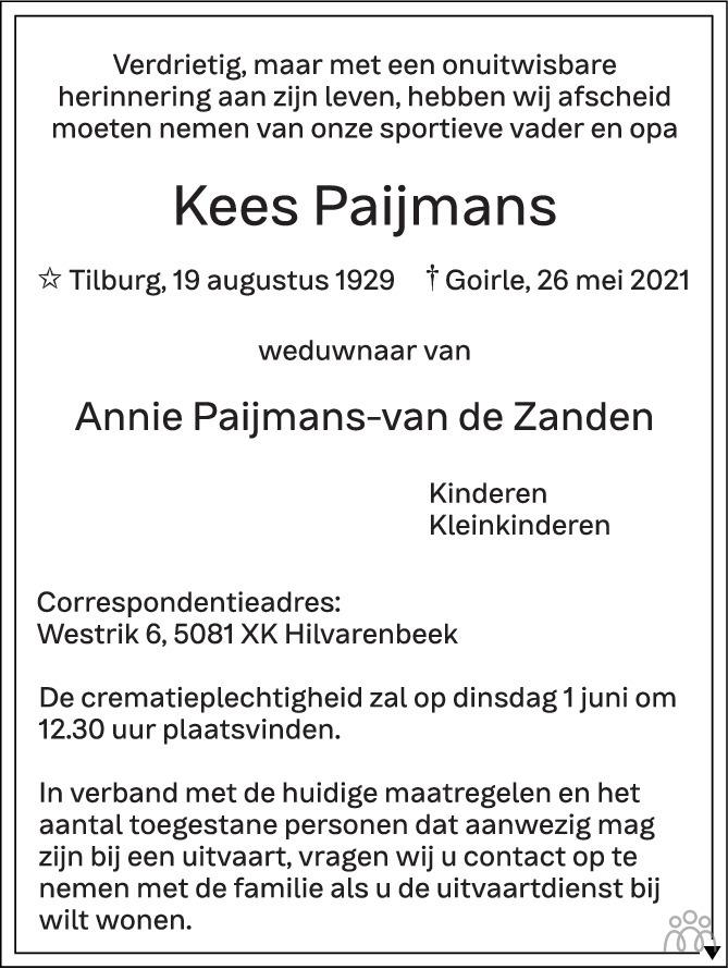 Overlijdensbericht van Kees Paijmans in Brabants Dagblad