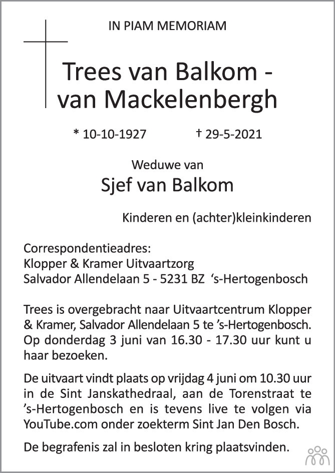 Overlijdensbericht van Trees van Balkom-van Mackelenbergh in Brabants Dagblad