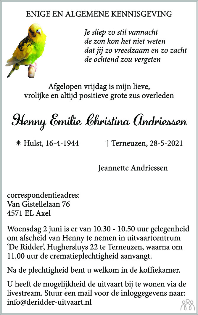 Overlijdensbericht van Henny Emilie Christina Andriessen in PZC Provinciale Zeeuwse Courant