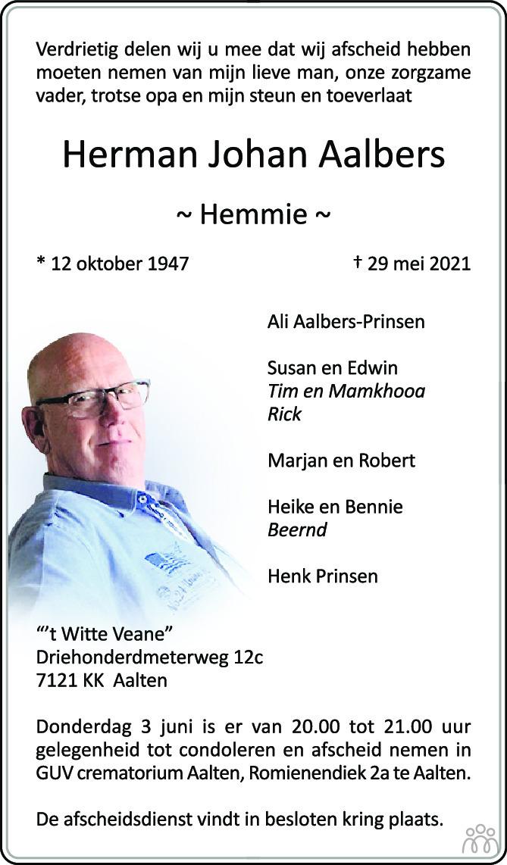 Overlijdensbericht van Herman Johan (Hemmie) Aalbers in de Gelderlander