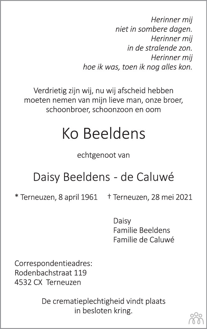 Overlijdensbericht van Ko Beeldens in PZC Provinciale Zeeuwse Courant