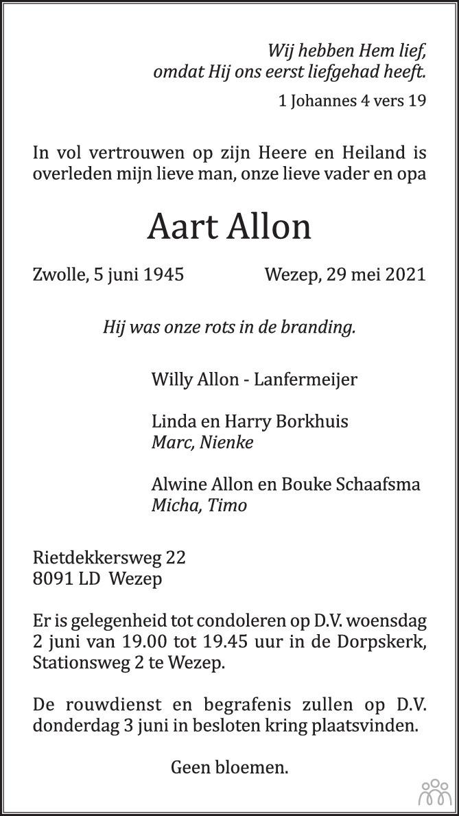 Overlijdensbericht van Aart Allon in de Stentor