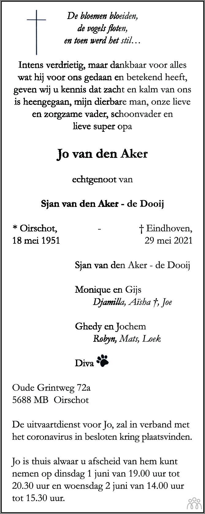 Overlijdensbericht van Jo van den Aker in Eindhovens Dagblad