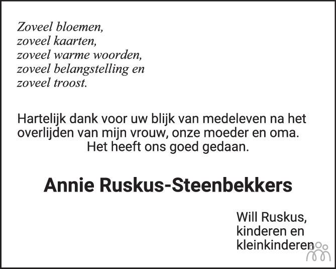Overlijdensbericht van Annie Ruskus-Steenbekkers in Brabants Dagblad