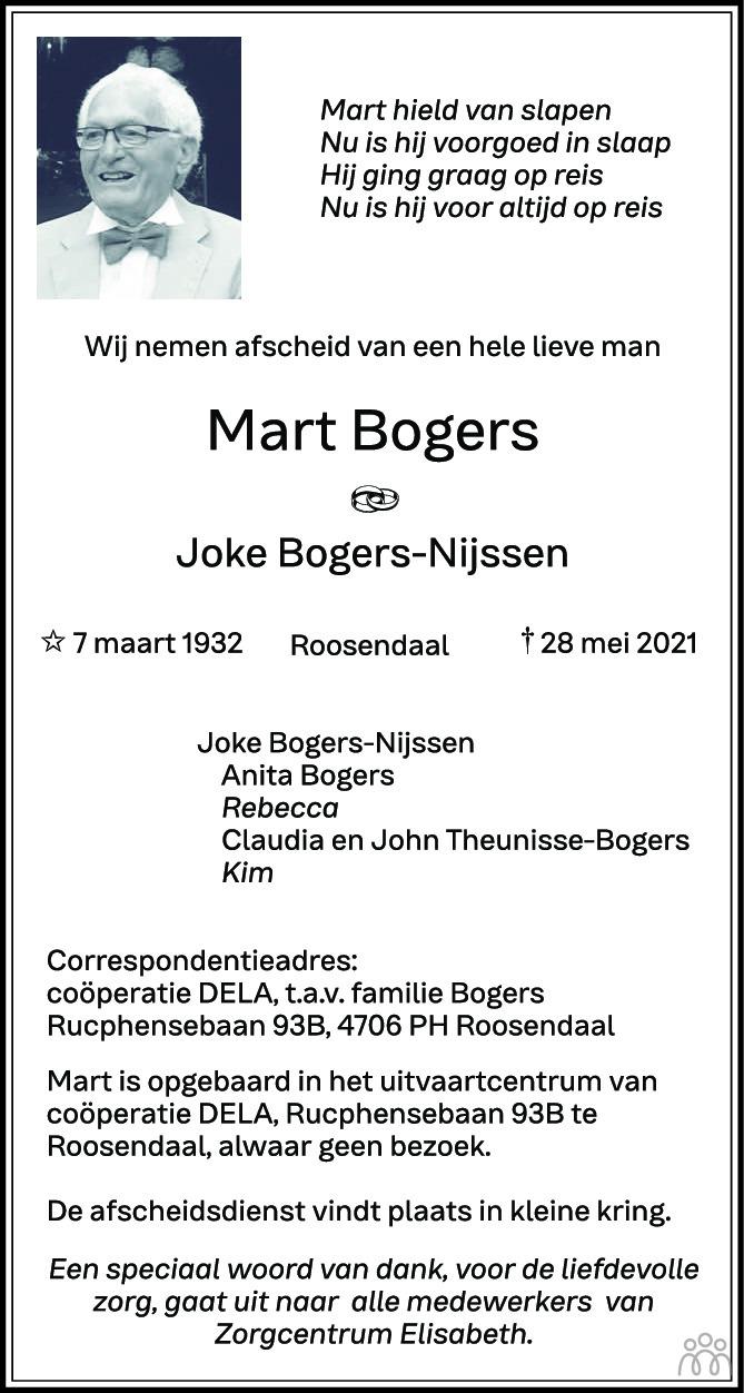 Overlijdensbericht van Mart Bogers in BN DeStem