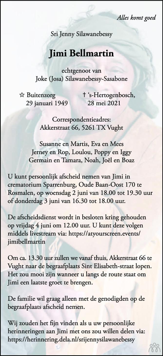 Overlijdensbericht van Jimi Bellmartin in Brabants Dagblad