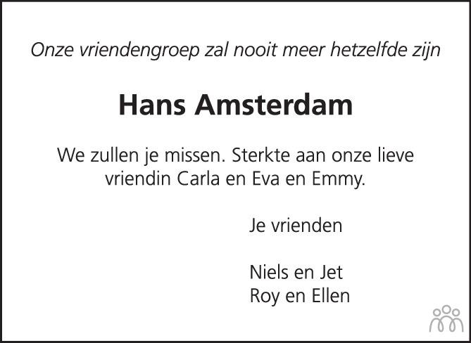 Overlijdensbericht van Hans Amsterdam in Nieuwe Stadsblad