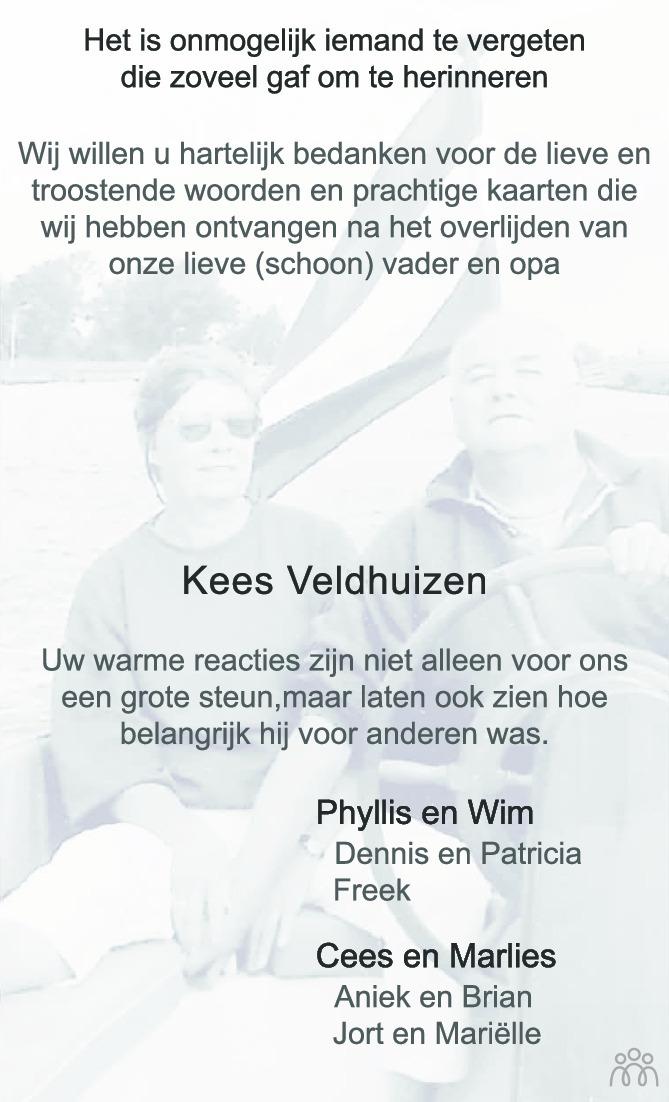 Overlijdensbericht van Kees Veldhuizen in Zakengids Combinatie
