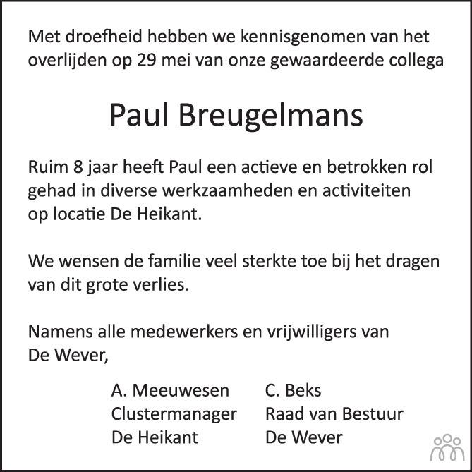 Overlijdensbericht van Paul Breugelmans in Brabants Dagblad