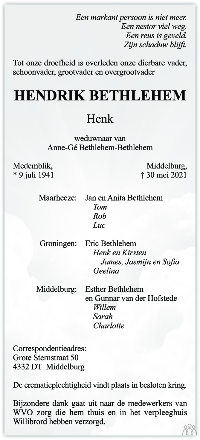 Overlijdensbericht van Henk (Hendrik) Bethlehem in PZC Provinciale Zeeuwse Courant