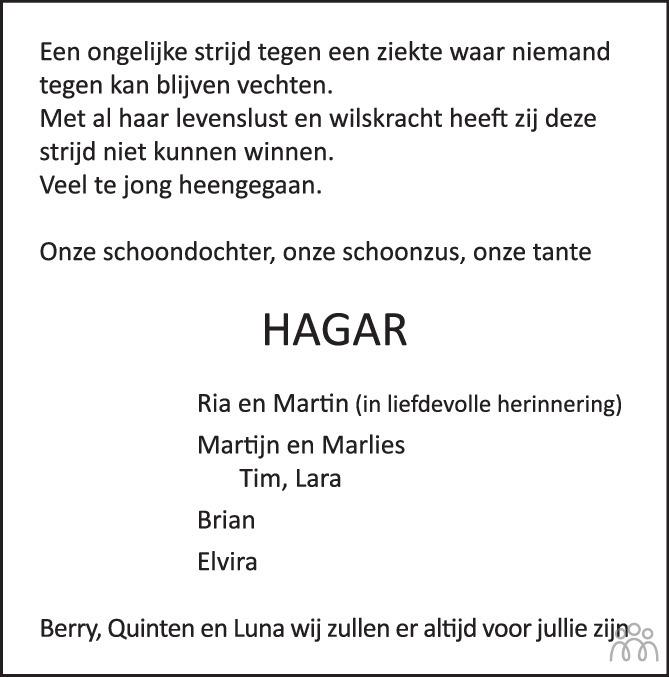 Overlijdensbericht van Hagar de Harder-Schoutens in de Stentor