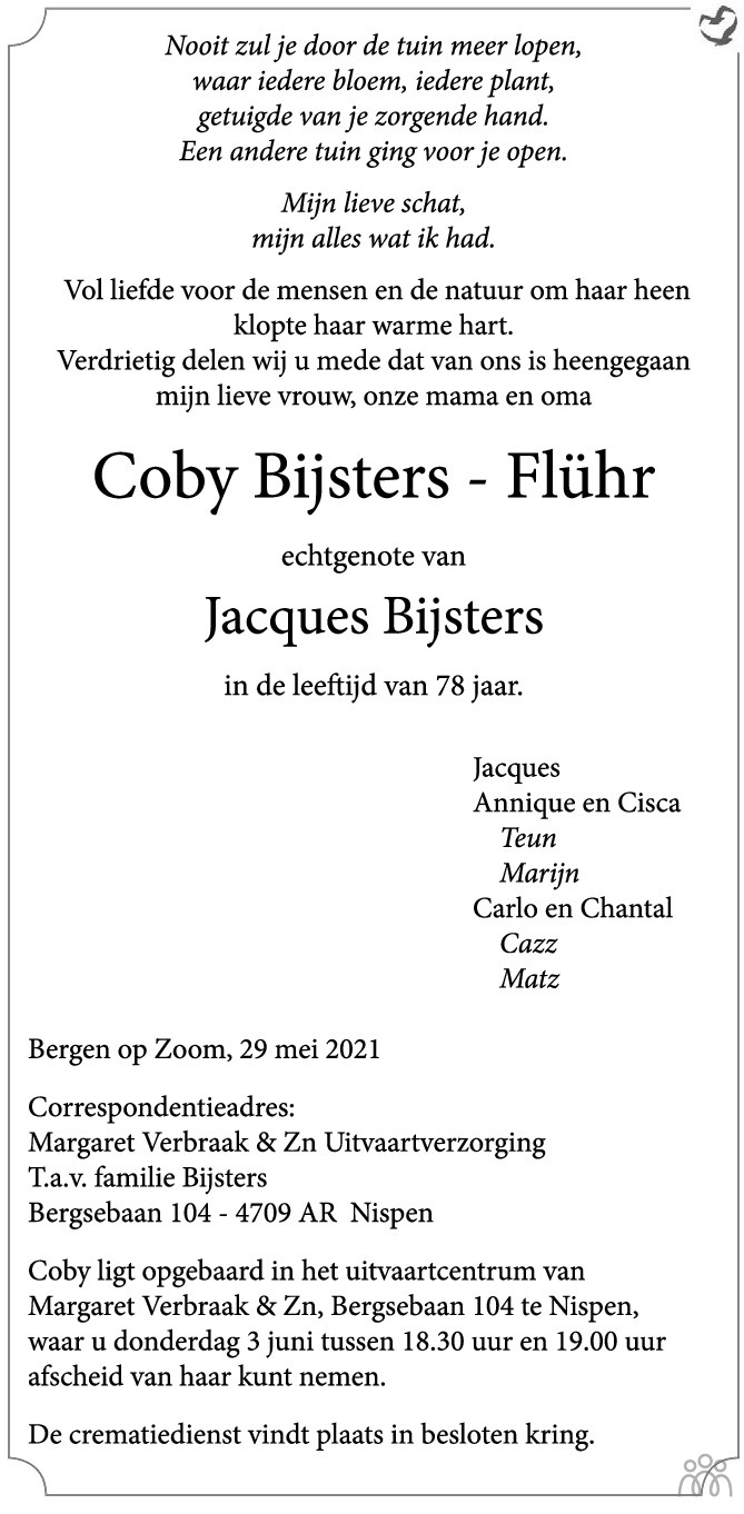 Overlijdensbericht van Coby Bijsters-Flühr in BN DeStem