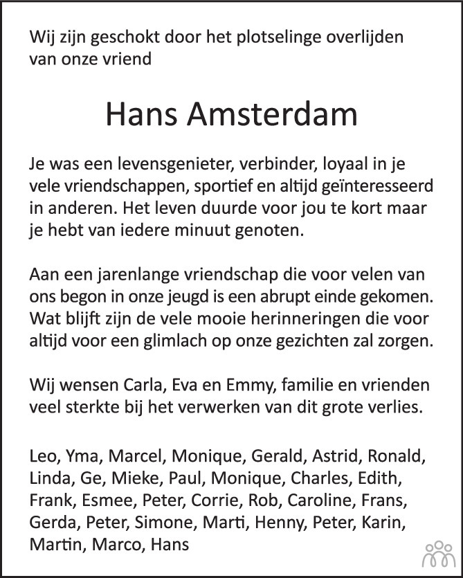 Overlijdensbericht van Hans Amsterdam in AD Algemeen Dagblad