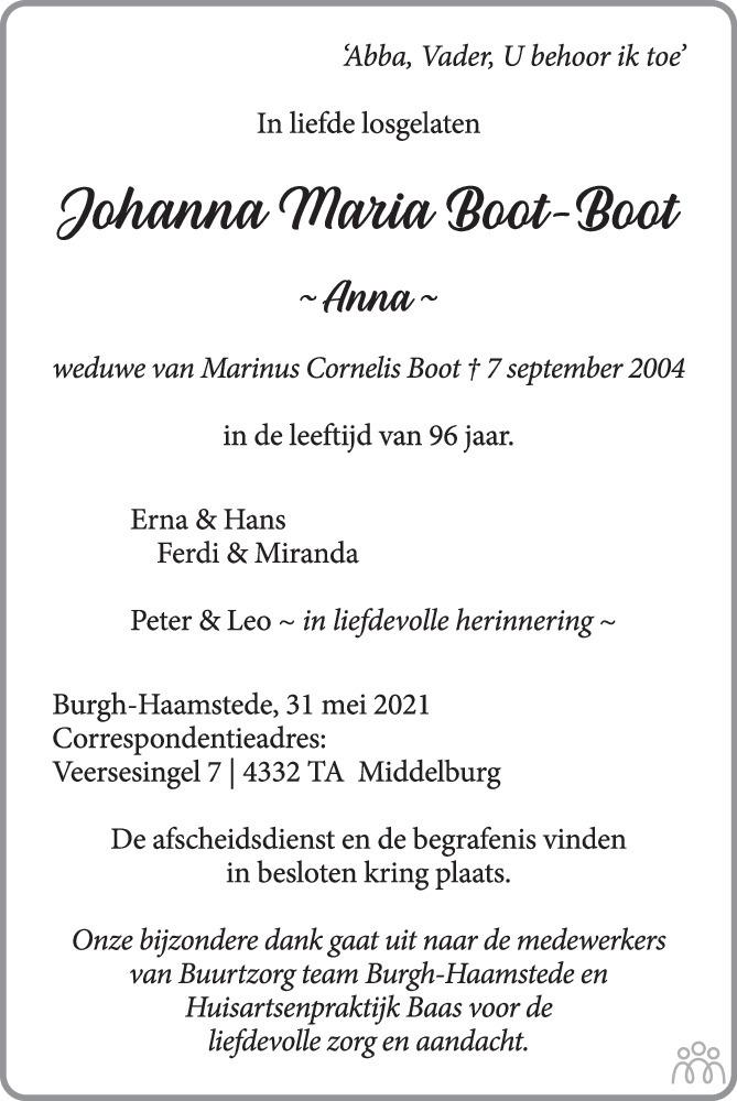 Overlijdensbericht van Johanna Maria (Anna) Boot-Boot in PZC Provinciale Zeeuwse Courant