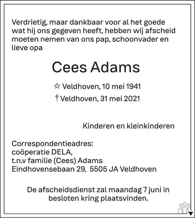 Overlijdensbericht van Cees Adams in Eindhovens Dagblad