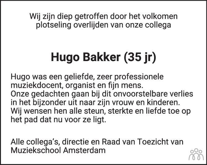 Overlijdensbericht van Hugo Bakker in Het Parool