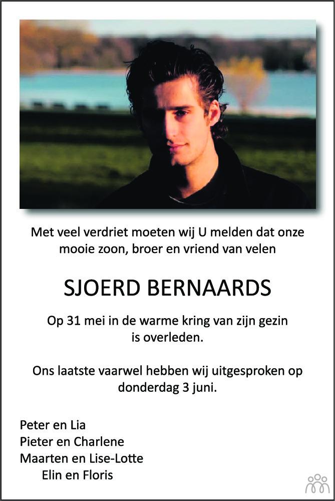 Overlijdensbericht van Sjoerd Bernaards in BN DeStem