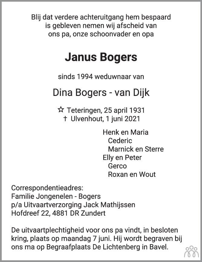 Overlijdensbericht van Janus Bogers in BN DeStem