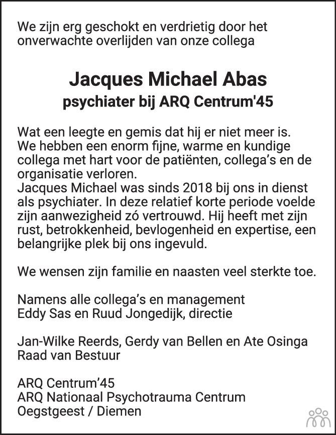Overlijdensbericht van Jacques Michael Abas in Trouw