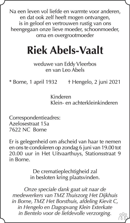 Overlijdensbericht van Riek Abels-Vaalt in Tubantia