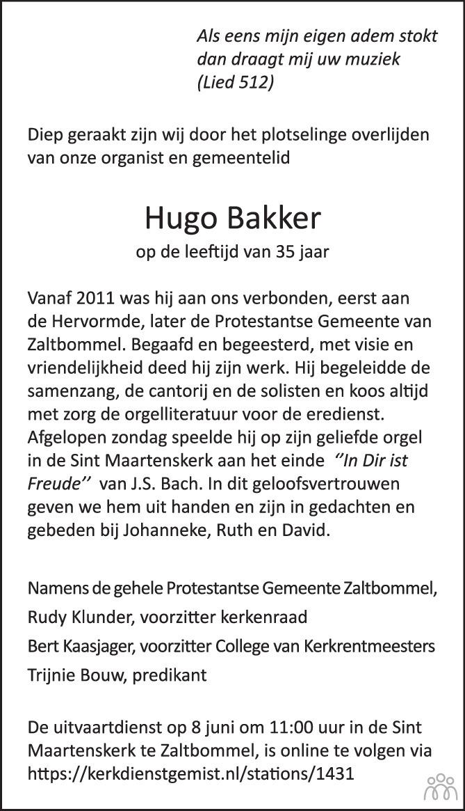 Overlijdensbericht van Hugo Bakker in Trouw