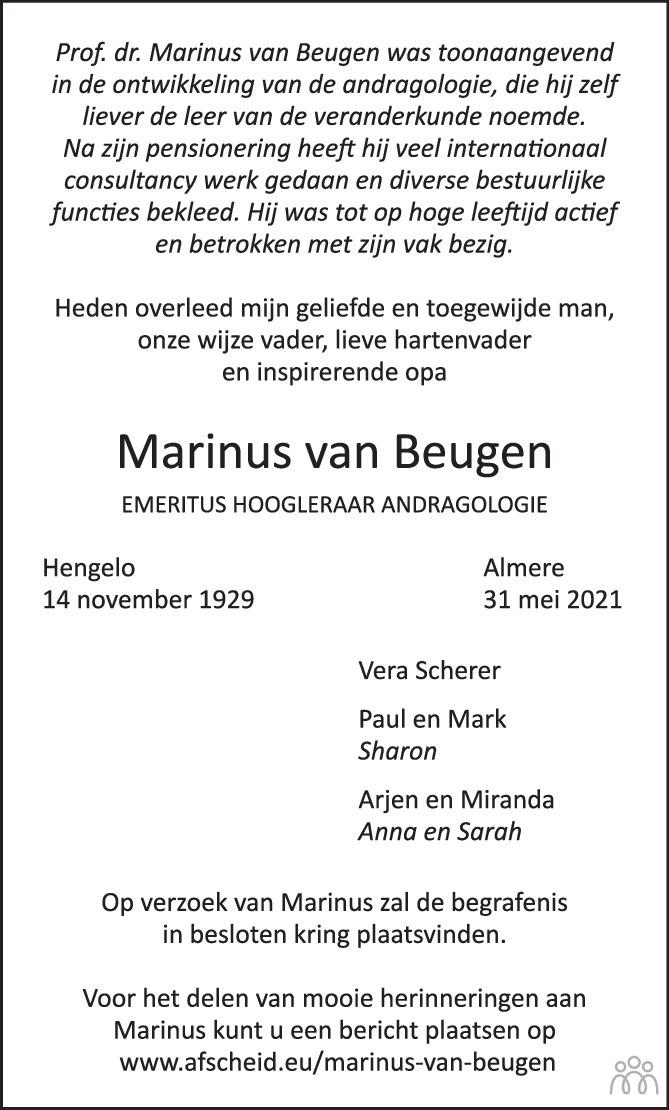 Overlijdensbericht van Marinus van Beugen in de Volkskrant
