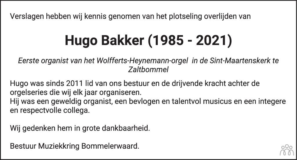 Overlijdensbericht van Hugo Bakker in Brabants Dagblad
