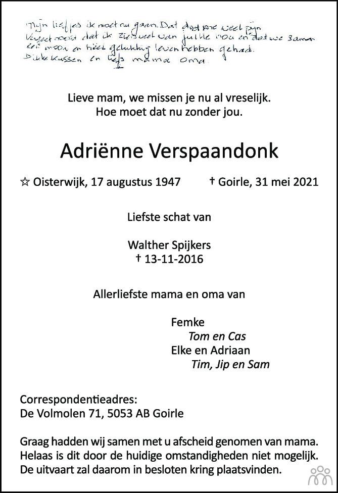 Overlijdensbericht van Adriënne Spijkers-Verspaandonk in Brabants Dagblad