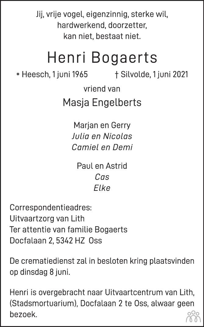 Overlijdensbericht van Henri Bogaerts in Brabants Dagblad