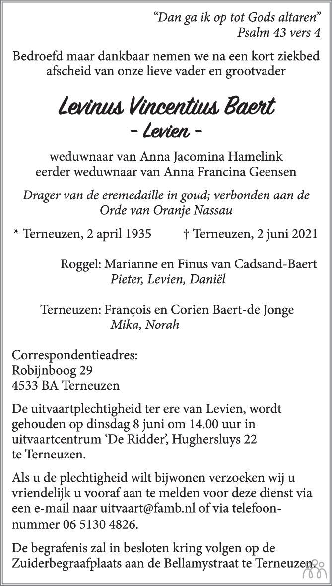 Overlijdensbericht van Levinus Vincentius (Levien) Baert in PZC Provinciale Zeeuwse Courant
