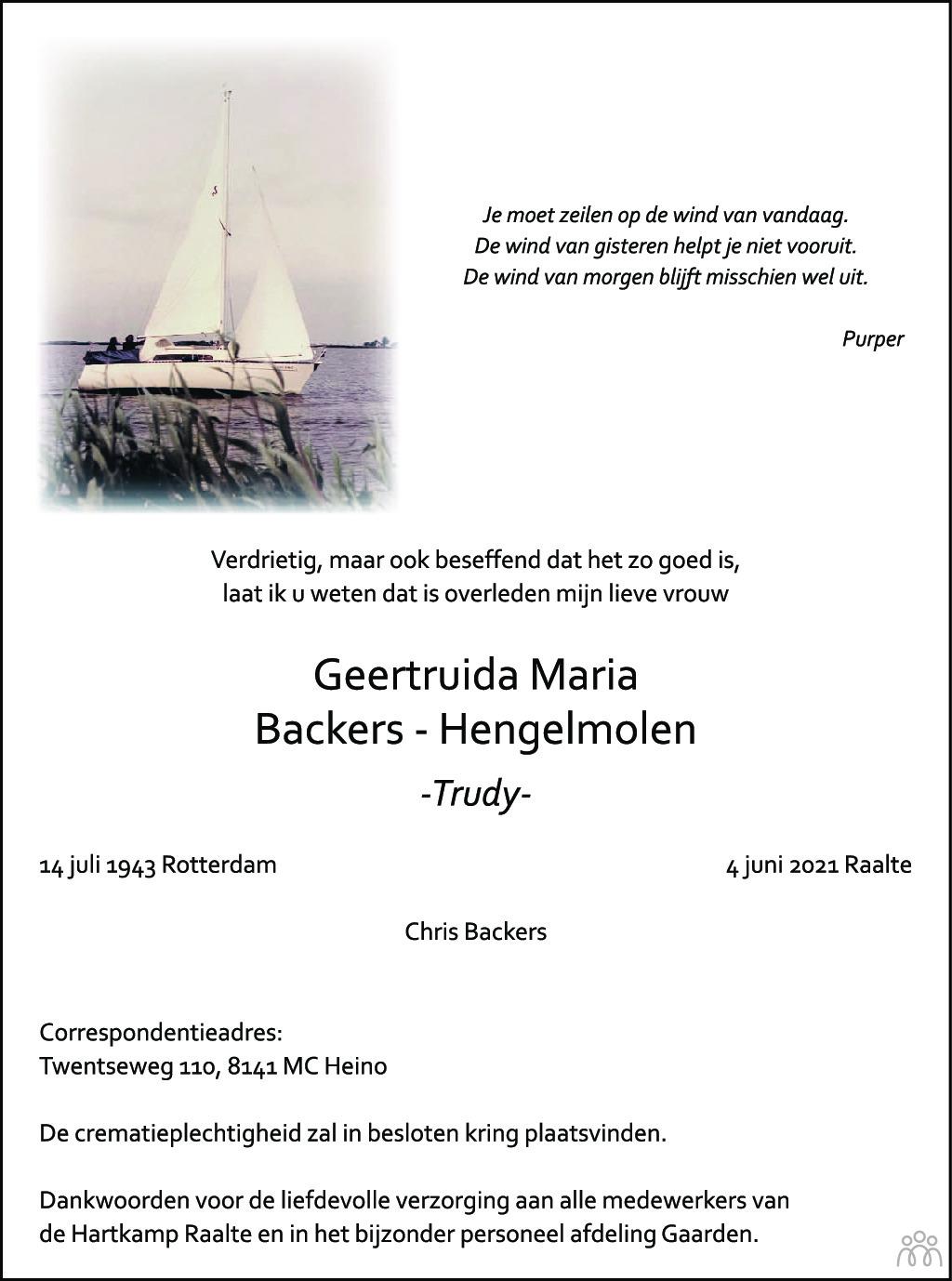 Overlijdensbericht van Geertruida Maria (Trudy) Backers-Hengelmolen in de Stentor