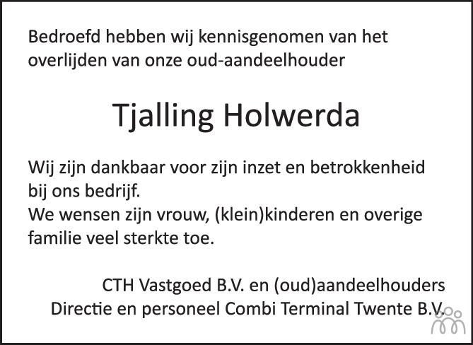 Overlijdensbericht van Tjalling Holwerda in Tubantia
