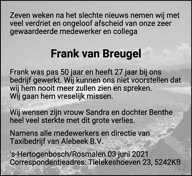 Overlijdensbericht van Frank van Breugel in Brabants Dagblad