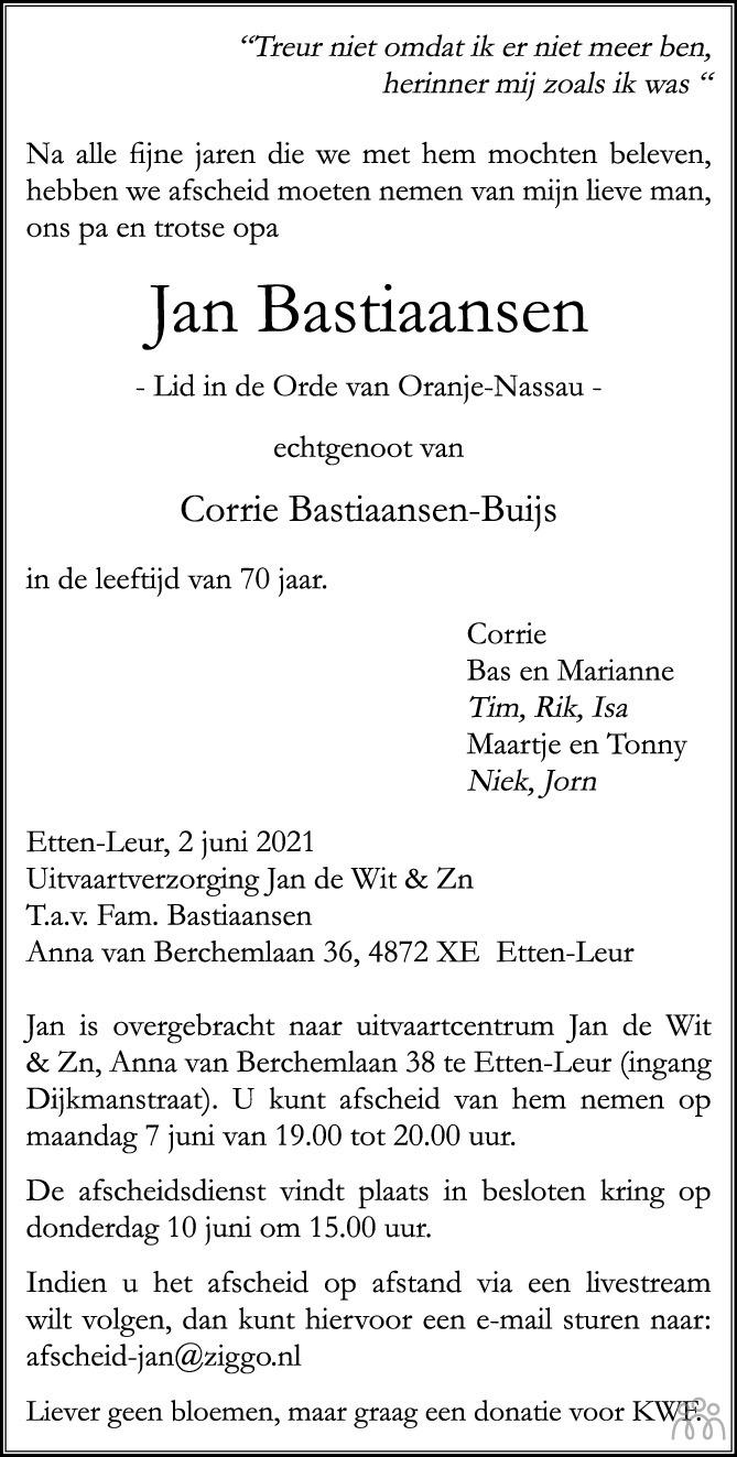 Overlijdensbericht van Jan Bastiaansen in BN DeStem