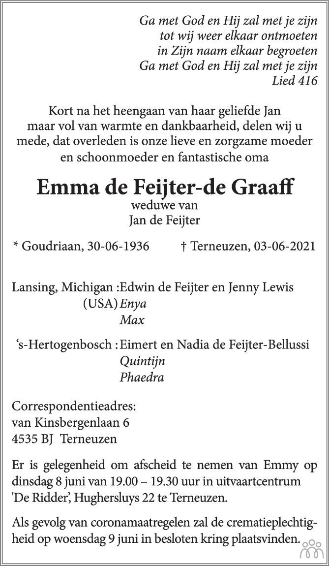 Overlijdensbericht van Emma de Feijter-de Graaff in PZC Provinciale Zeeuwse Courant