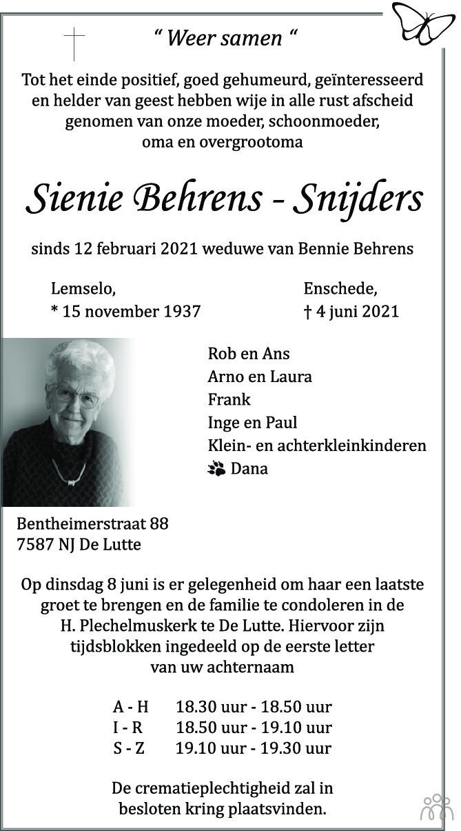 Overlijdensbericht van Sienie Beherens-Snijders in Tubantia