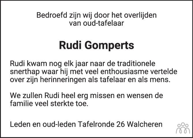 Overlijdensbericht van Ir. Rudi Jacques Gomperts in PZC Provinciale Zeeuwse Courant