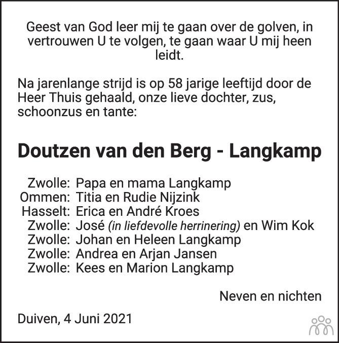 Overlijdensbericht van Doutzen van den Berg-Langkamp in de Gelderlander