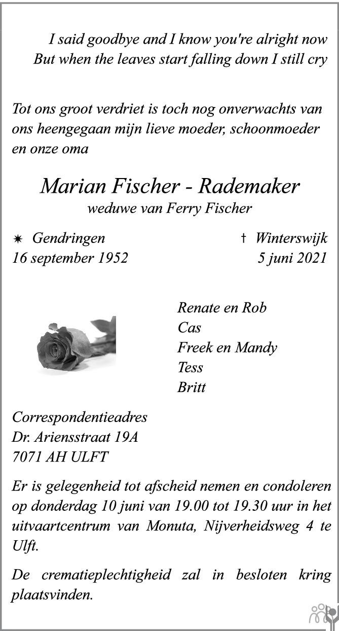 Overlijdensbericht van Marian Fischer-Rademaker in de Gelderlander