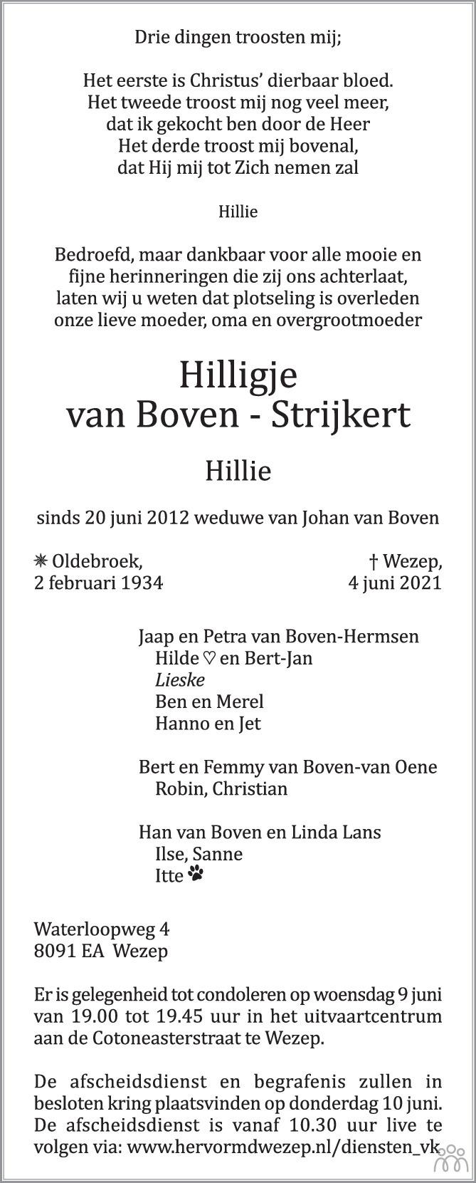 Overlijdensbericht van Hilligje (Hillie) van Boven-Strijkert in de Stentor